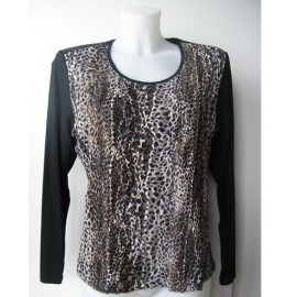 CAMISETA CON ENCAJE Y PRINT ANIMAL