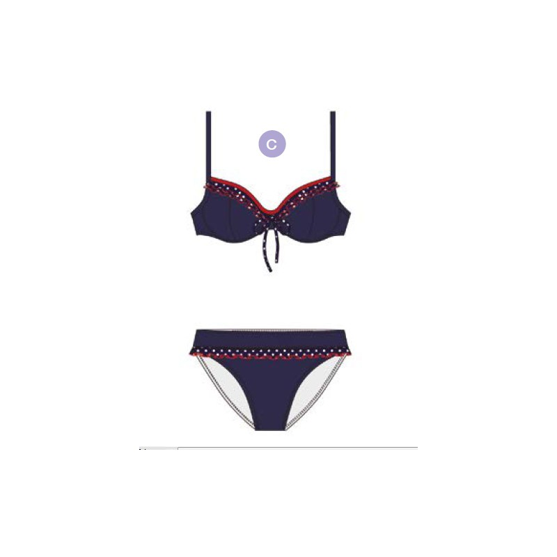 Docor Con Volantes Mujer Marino Azul Bikini AL5R34j