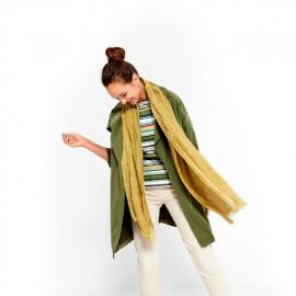 Fular de mujer en algodón verde kaki efecto lavado Surkana