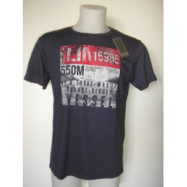 Camiseta de manga corta de color azul marino para hombre.