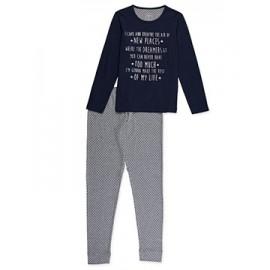 Pijama de punto liso con estampado delantero mujer +colores
