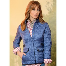 Chaqueta de mujer azul con guateado y bolsillos de Roberto Bassi Woman