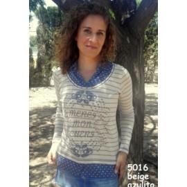 Camiseta crudo de mujer Lili Dudu con efecto dos piezas