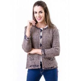 Chaqueta jaspeada de mujer con lurex y bolsillos +colores