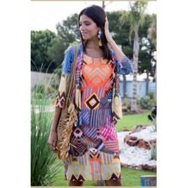 Vestido de mujer Arona con estampado y manga corta