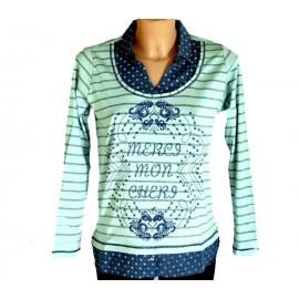 Camiseta azul de mujer Lili Dudu con efecto dos piezas