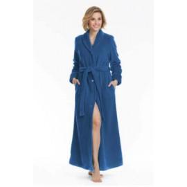 Bata azul de mujer larga abotonada LOHE