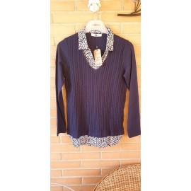 Camiseta azul marino de mujer Lili Dudu con efecto dos piezas