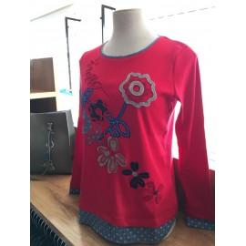 Camiseta algodón roja con faldon mujer Lili Dudu