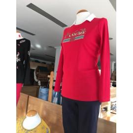 Camiseta roja de mujer Lili Dudu con efecto dos piezas